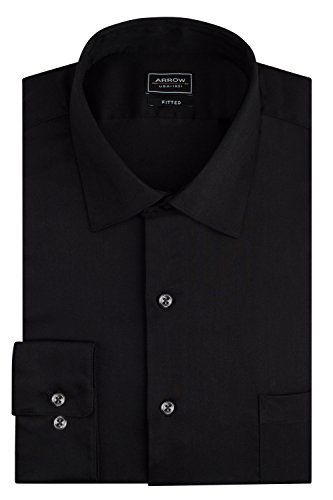 Arrow Men's Stretch Fitted Solid Spread Collar Dress Shirt, Black, 15.5