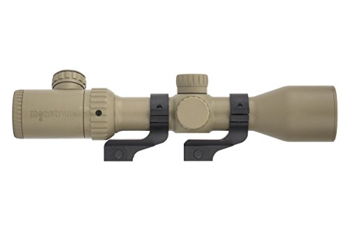 Monstrum 3-12x42 AO Rifle Scope with Illuminated Mil-Dot Reticle and Offset Reversible Scope Rings | Flat Dark Earth