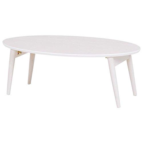 折りたたみテーブル ローテーブル 【楕円形 幅90cm】 ホワイトウォッシュ 木製 MT-6925WS B06XKM1S71  ホワイトウォッシュ