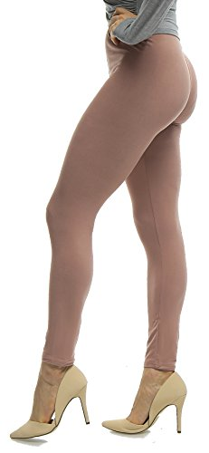 (Lush Moda Women's Basic Leggings - Extra Soft and Variety of Colors - Mocha)