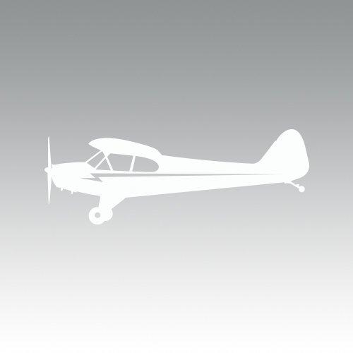 RDW Side View Piper J3 Cub Airplane Sticker - Decal - Die Cut - White