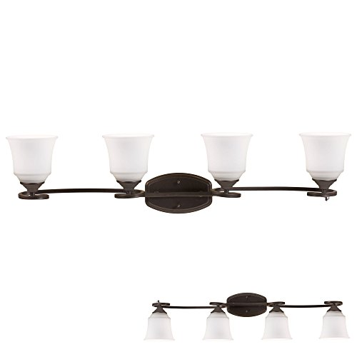 - Oil Rubbed Bronze Vanity Light 4 Bulb Bath Wall Fixture Curled Base White Glass Globes