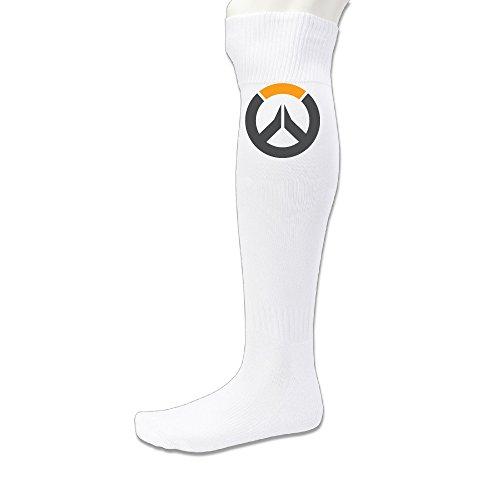 Beauty Unisex Adults Sports Athletic Over Watch Logo Soccer Socks Over Knee High Socks White
