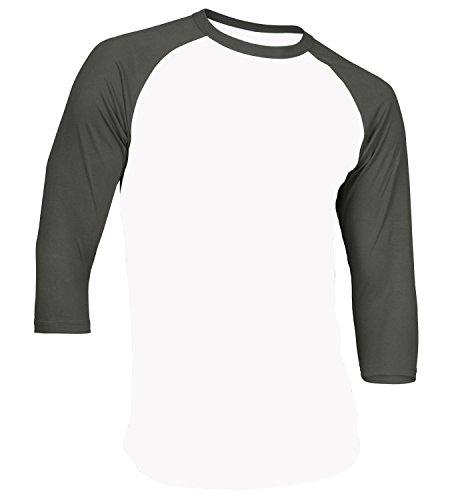 Tone T-shirt Raglan (Men's Plain Athletic 3/4 Sleeve Baseball Sports T-Shirt Raglan Shirt S-XL Team Jersey White Charcoal L)