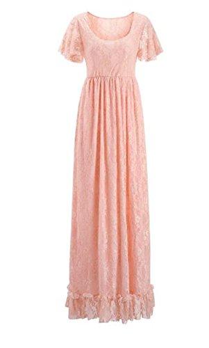 corta di semplice unita elegante girocollo manica Abbigliamento maternità donna Besthoo Maxi incinta rosa vestiti tinta SwqEPZ