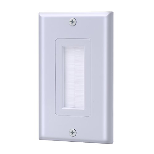 (IBL-Single Gang Wall Plate with Brush Bristles (White))