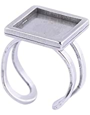 Reidgaller 8pcs Stainless Steel Fit 12mm Square Cabochon Ring Base Settings DIY Bezel Blanks for Rings Jewelry Making