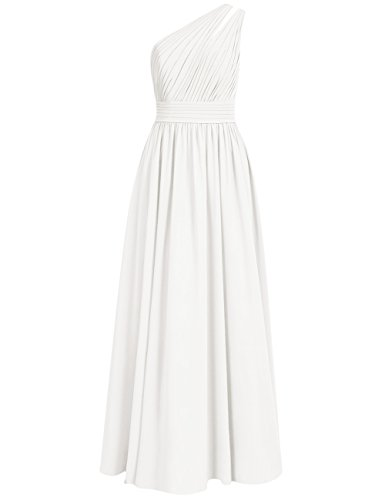 Shoulder Wedding Bridesmaid Ivory One Prom Long Gowns Maxi Cdress Chiffon Dresses Evening g5qCnx