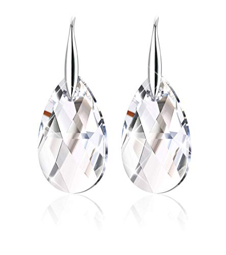 Sllaiss 926 Sterling Silver Color Change Crystal Tear Drop Dangle Earrings for Women Adorned with Swarovski Crystals, Hook Earrings Gift for Her