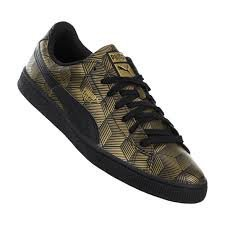 Puma Hombres Basket Sneakers (9, Black / Gold)
