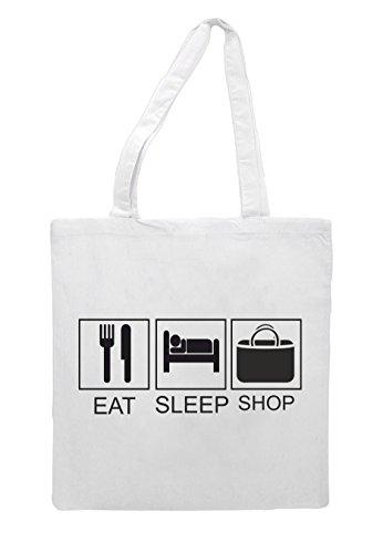 Eat Activity Tiles Shop Funny Tote White Bag Shopper Hobby Sleep TxXrF7T