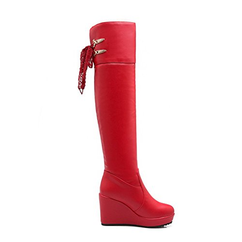 Allhqfashion Women's Closed Round Toe High-Heels Soft Material Solid Pull-on Boots Red kIxJfO