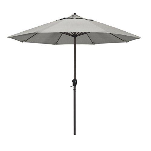 California Umbrella 9' Round Aluminum Market Umbrella, Crank Lift, Auto Tilt, Bronze Pole, Sunbrella Granite Fabric