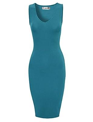 Tom's Ware Women Stylish V-Neck Sleeveless Double Slit Bodycon Dress