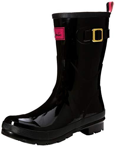 Joules Women's Kelly Welly Gloss Rain Boot, Black, 10 M US