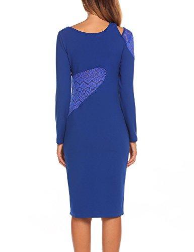 Renflements Des Femmes De Hallow-out Patchwork De Dentelle Hip-froid Taille Moulante Robe Bleu Royal Manches Longues