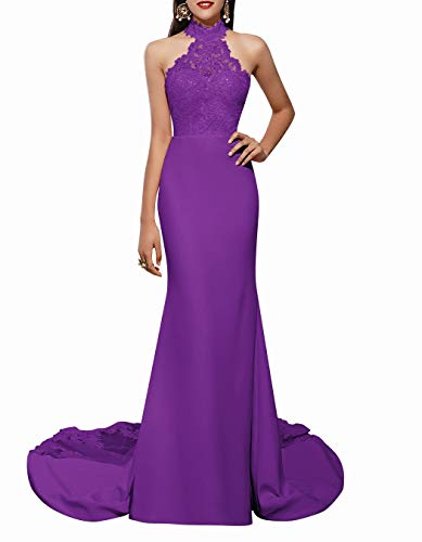ALAGIRLS Women Halter Lace Appliques Mermaid Prom Long Chiffon Fishtail Formal Evening Gowns Purple US26Plus