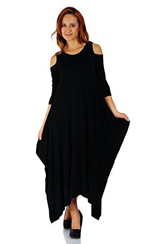 Black Uneven Hem Dress - Simply Ravishing Rayon Span Maxi Cold Shoulder Boho Harem 3/4 Sleeve Dress, Medium, Black