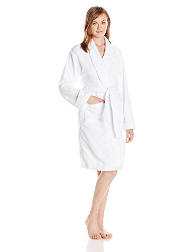 Hotel Spa Women's Shawl Collar French Terry Robe, White (French Robes Terry)