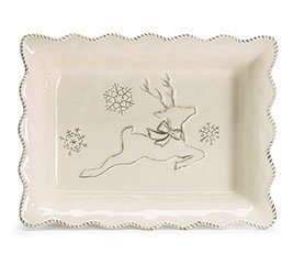 Tabletop HOLIDAY DANCER CASSEROLE DISH Christmas Reindeer Snowflakes 1763152