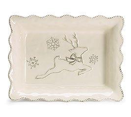 Dancer Reindeer (Tabletop HOLIDAY DANCER CASSEROLE DISH Christmas Reindeer Snowflakes 1763152)