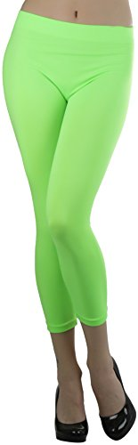 (ToBeInStyle Women's Seamless Capri Leggings - Neon Lime - One Size)