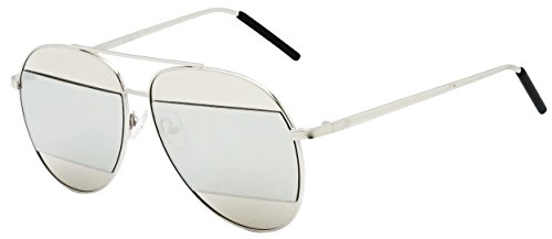 Classic Color Mirror Half Cut-Out Lens Metal Aviator Sun Glasses (Silver Frame, - Half Frame Sunglasses Aviator