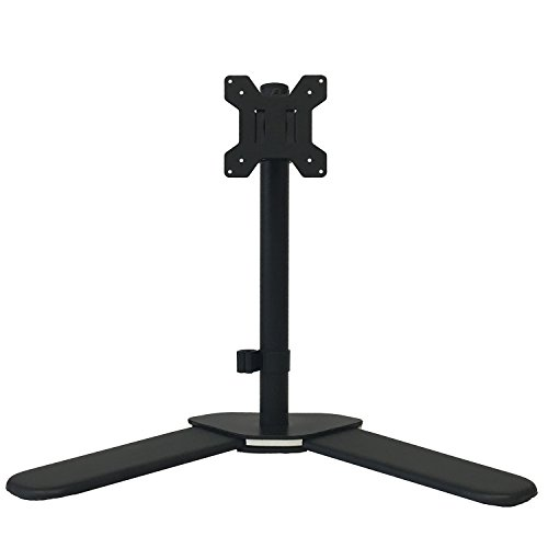 "WALI Single LCD Monitor Desk Mount Free Standing Adjustable Fits One Screen up to 27"", 22 lbs Capacity, Weighted /Grommet Base (WL-MF001)"