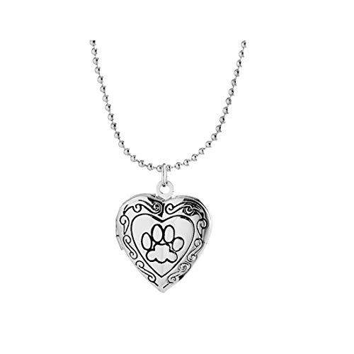 - Simple Heart Locket Necklaces Pendant Floating Charms Lockets Animal Dog Paw for Women Girl Memorial Jewelry-Silver paw