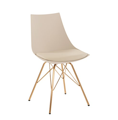 AVE SIX Oakley Faux Leather Task Chair with Gold Chrome Base, Cream (Beige Chair)