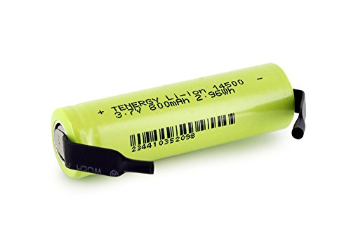 Tenergy Li-Ion 14500 Cylindrical 3.7V 800mAh Flat Top Rechar