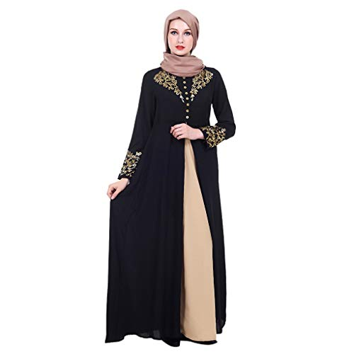 Womens Kaftan Gold Embroidered Fancy Abaya Evening Gown
