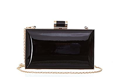 Faux Patent Leather Candy Clutch Women's Shiny Solid Patent Rectangular Box Clutch with Top Clasp