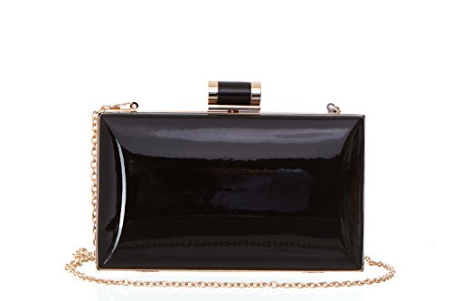 Faux Patent Leather Rectangular Box Candy Clutch With Top Clasp & Chain Strap For Women.