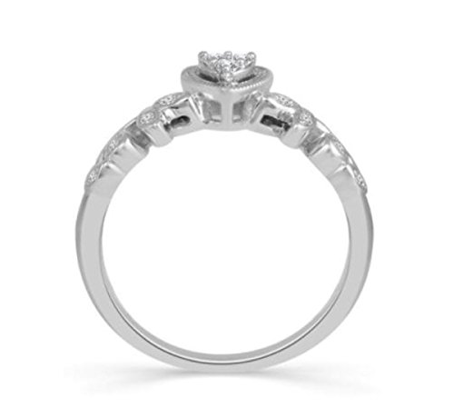 10K White Gold Heart Ring Vintage Style Promise Engagement Ring 1/10ctw Diamond Vines Style by Midwest Jewellery (Image #2)