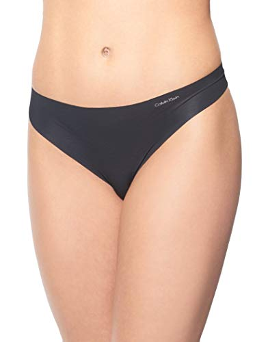 Calvin Klein Women's Invisibles No Panty Line Thong 3 Pack, Silver/Frolic dot/Black, ()