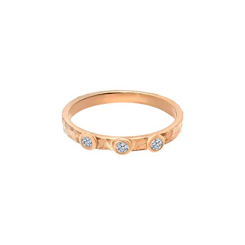 TousiAttar Three Diamond Rings - Solid 14k or 18k Rose Gold Hammered band Jewelry for Women - Free Personalized and Engraved Name and Initial or Message
