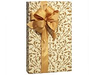 Elegant Metallic Antique Gold & Ivory Beige Scroll Gift Wrap - 16ft Roll by Premium Quality Gift Wrap - Beige Scroll Traditional