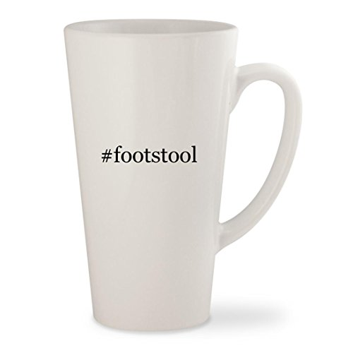 #footstool - White Hashtag 17oz Ceramic Latte Mug (Queen Anne Style Footstool)