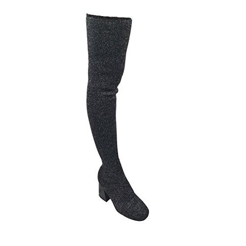 Alva Anna Landon Frauen Oberschenkel Hohe Stiefel Stretchy Snug Fit Socke Stricken Pull On Damen Schuhe Schwarz