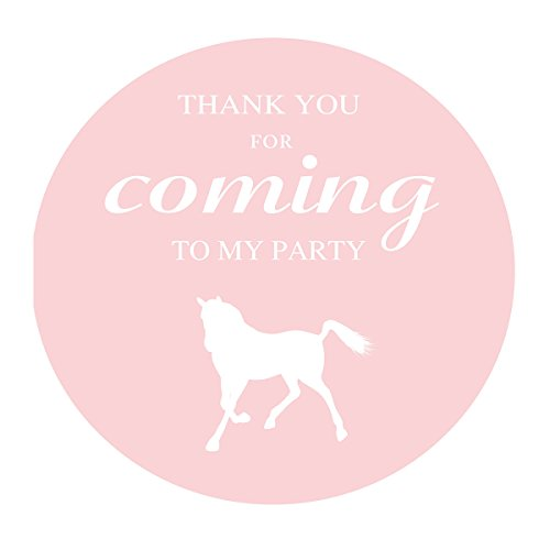 MAGJUCHE Pink Horse Thank You Stickers, Farm Animal, Boy Birthday or Baby Shower Party Supply Labels, 2 Inch, 40-Pack by MAGJUCHE
