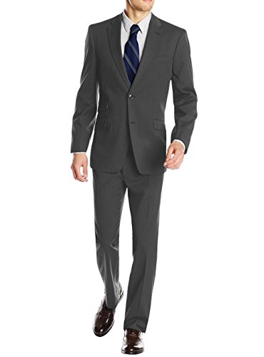 Suit Piece 2 Silk (Gino Valentino Men's 2 Piece Two Button Ticket Pocket Jacket Faint Herringbone Suit (48 Regular US / 58R EU / W 42
