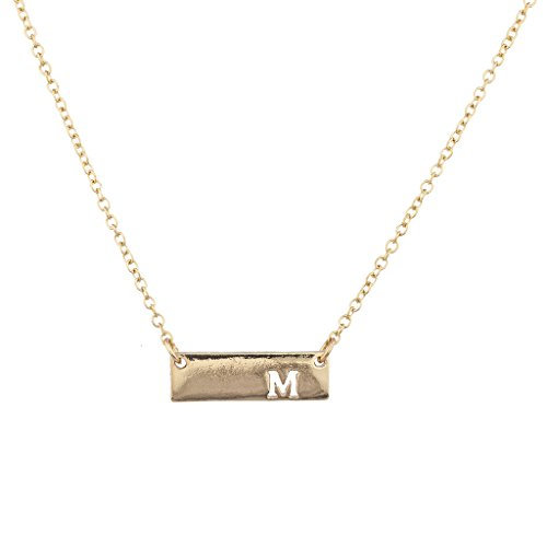 Lux Accessories Goldtone Cut Out M Initial Personalized Bar Necklace (Out Cut Tone Gold)