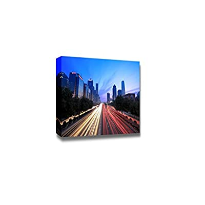 Canvas Prints Wall Art - Beijing Cityscape at Dusk with Traffic - 32