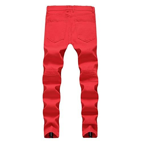 Jeans De Rojo Vintage Hombres Motocicleta Ropa Recta De Recta Cintura Jeans Mediados Jeans Los Mezclilla Denier Casual Moda Stretch De Pantalones OP7qnU
