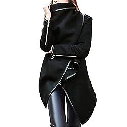 Modoqo Women S Zipper Jacket Irregular Solid Long Parka Coat Outwear Overcoat Black Xxx Large