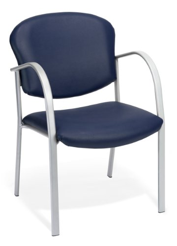 OFM Reception Chair with Arms – Vinyl Guest Chair, Navy