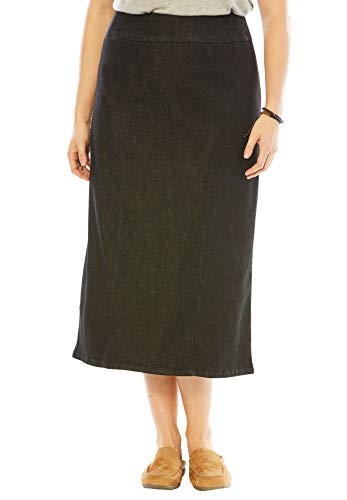 - Woman Within Women's Plus Size Smooth Waist A-Line Denim Skirt - Black Denim, 14 W