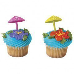 Umbrellas Assorted Cupcake Toppers 3D Set of 12
