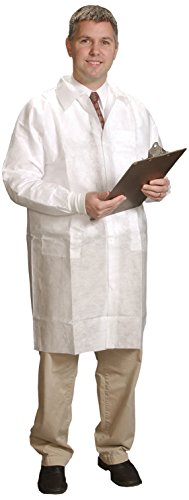 Alpha Pro Tech Critical Cover LC-31632-2 AlphaGuard Lab Coat, Tapered Collar, Knit Wrist, 3 Pockets, Snap Close, Serged Seams, Blue, M Size (Case of 30) - Protech Coat